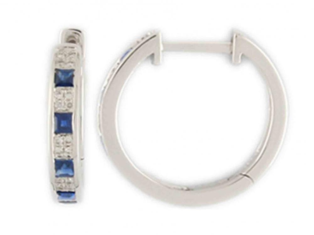 Diamantové náušnice, bílé zlato briliant, safír - kroužky z bílého zlata 388053 (3880530 - POŠTOVNÉ ZDARMA)