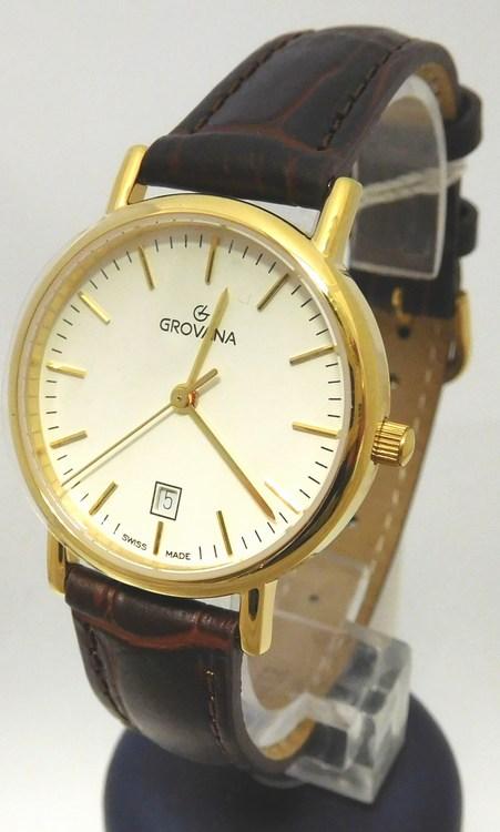 Dámské luxusní švýcarské hodinky Grovana 3229.1513 na koženém pásku (3229.1513 - POŠTOVNÉ ZDARMA)