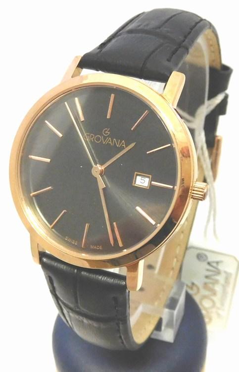 Dámské luxusní švýcarské zlacené hodinky Grovana 3230.1967 na koženém pásku (3230.1967 - POŠTOVNÉ ZDARMA)