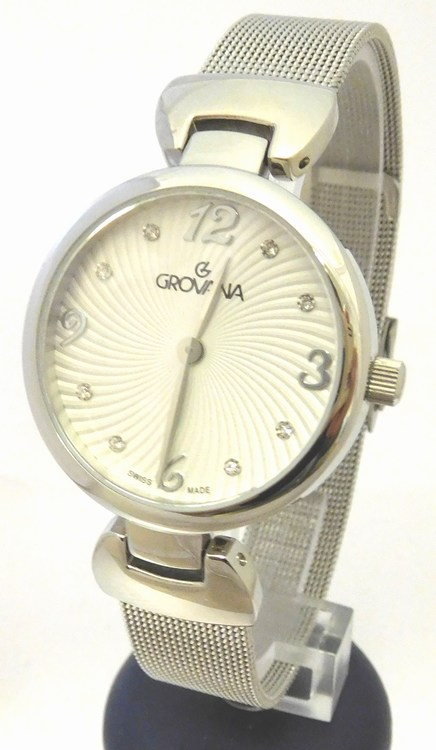 Luxusní dámské švýcarské hodinky Grovana 4485.1132 se zirkony na číselníku (4485.1132 - POŠTOVNÉ ZDARMA)