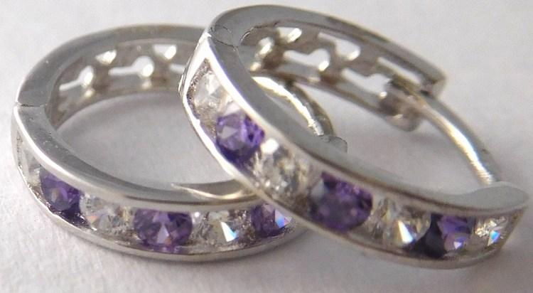 Dívčí náušnice - zlaté kroužky s fialovými ametysty 585/1,05gr 1181195