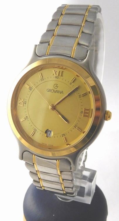 Pánské luxusní ocelové švýcarské hodinky Grovana 1705.1541 (bicolor) (1705.1541 - POŠTOVNÉ ZDARMA)