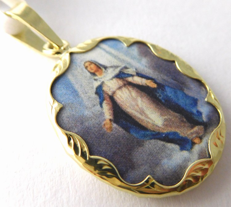 Gravírovaná zlatá smaltovaná madonka - svatá Madona 585/2,45gr 3320237 (3320237 - POŠTOVNÉ ZDARMA)