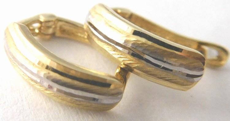 Gravírovné zlaté náušnice z bílého a žlutého zlata 585/0,95gr 2130310 (2130310)