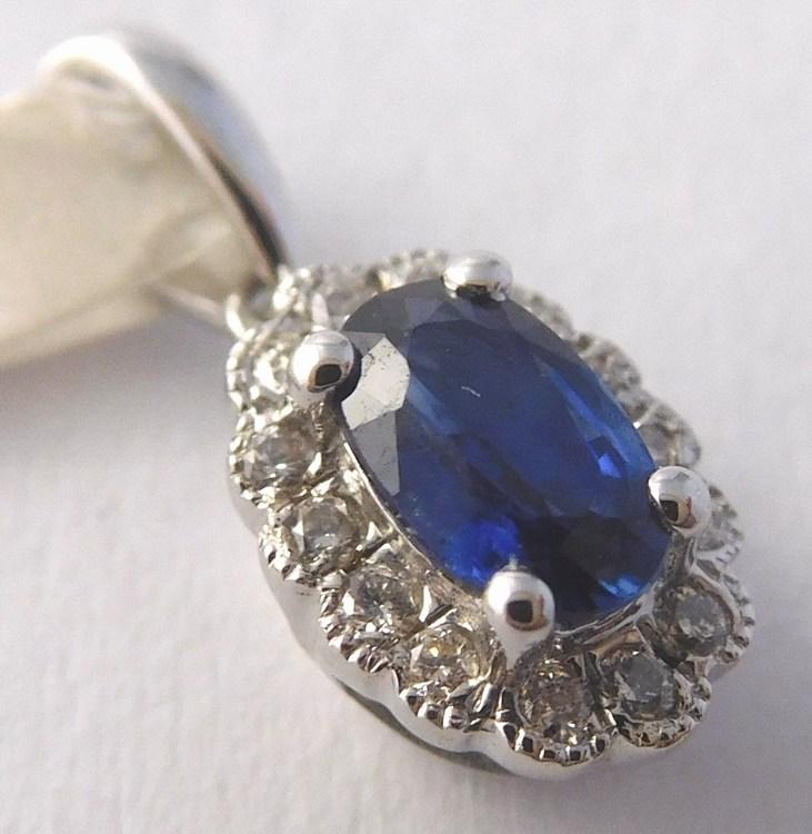 Luxusní diamantový přívěsek z bílého zlata s modrým safírem 585/0,65gr 3870320 (3870320 SKLADEM IHNED ODESÍLÁME!! POŠTOVNÉ ZDARMA)