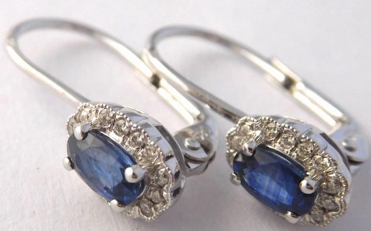 a136d203f Luxusní diamantové náušnice z bílého zlata s modrými safíry 585/2,10gr  3880447