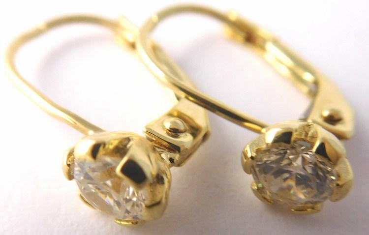 Dívčí / dámské zlaté náušnice na klasické zapínání zirkony 585/1,37gr 1131334 (1131334 - POŠTOVNÉ ZDARMA )