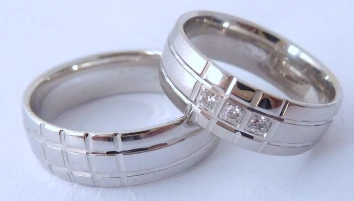 Exkluzivní zlaté snubní prsteny Couple 585/1000 s diamanty 65US1 (65US1)