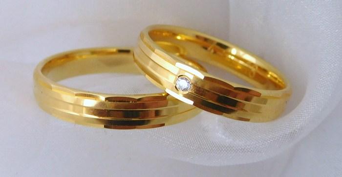 Elegantní zlaté snubní prsteny Couple 585/1000 s diamanty 4N18 (4N18)