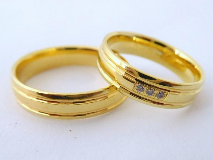 Luxusní zlaté snubní prsteny Couple 585/1000 s diamanty 5N13 (5N13)