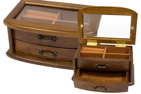 Dvoupatrová dřevěná šperkovnice s proskleným víkem 8841/58398