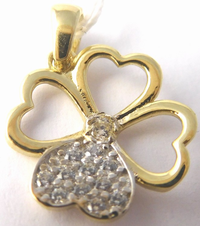 Zlatý přívěsek - zlatý srdíčkový čtyřlístek pro štěstí 585/0,90gr H795 (POŠTOVNÉ ZDARMA!!)
