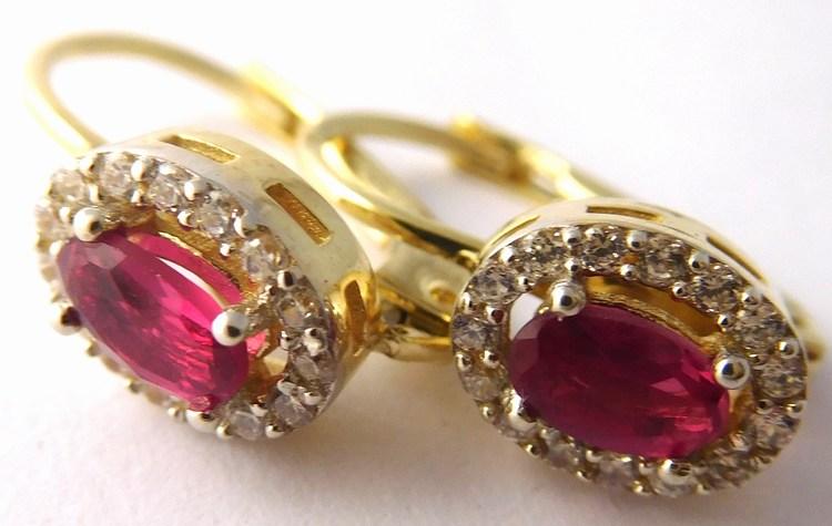 Luxusní zlaté mohutné náušnice s červenými rubíny a zirkony 585/2,22gr 1156003 (POŠTOVNÉ ZDARMA!!)
