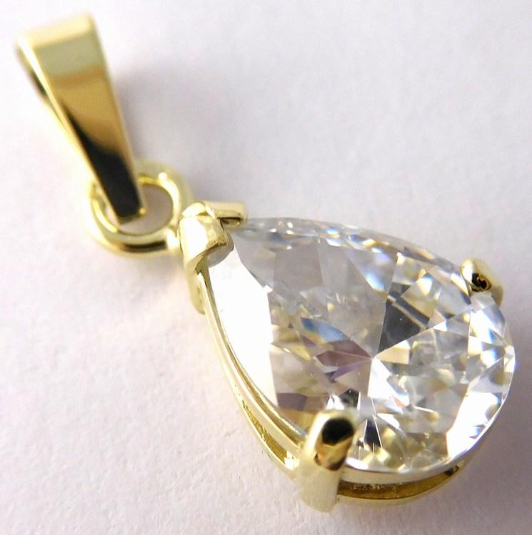 Zlatý přívěsek - velká čirá kapka (zirkon) pro štěstí 585/1,47gr 246040558 (POŠTOVNÉ ZDARMA!!)