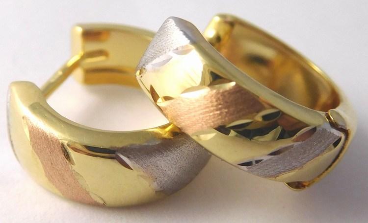 Dámské kruhy v kombinaci bílého a žlutého a růž. zlata 585/1,22gr 1430874 (1430874 - POŠTOVNÉ ZDARMA)
