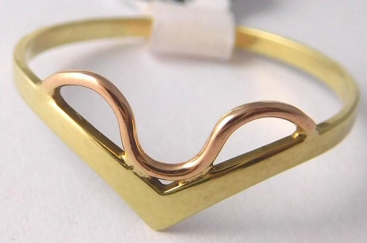 Dámský zlatý prsten ze žlutého a růžového zlata 585/0,85gr vel. 53 Z168