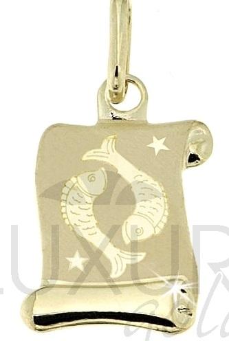 Zlatý přívěsek - zlaté znamení RYBY na pergamenu 585/0,42gr 1322006 (1322006)