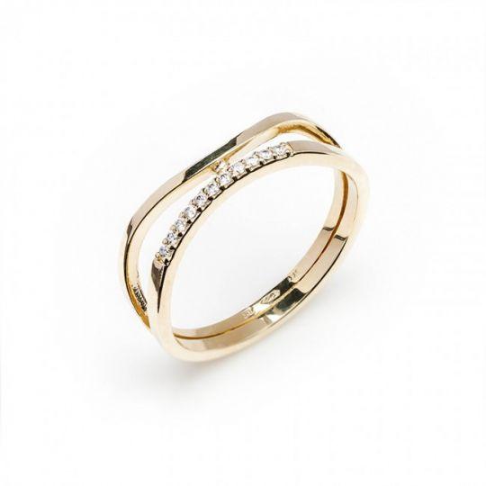 Dámský luxusní zlatý prsten se zirkony cca 585/2,50gr vel. libovolná 223041336 (223041336)