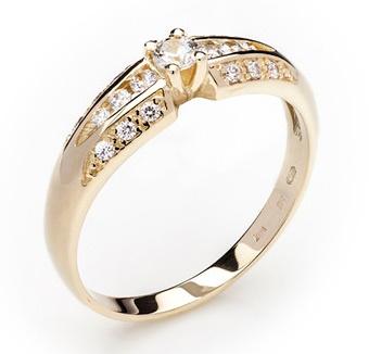 Dámský zásnubní zlatý prsten se zirkony cca 585/2,9gr vel. libovolná 223041342 (223041342 - POŠTOVNÉ ZDARMA)