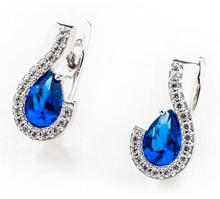 Dámské zlaté náušnice s modrými safíry a zirkony ca 585/2,50gr 336041253 (336041253 - POŠTOVNÉ ZDARMA)