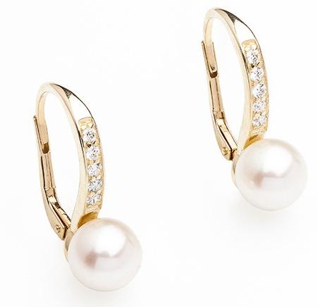 Dámské zlaté náušnice se sladkovodními perlami a zirkony cca 585/2,60g 235040130 (235040130 - POŠTOVNÉ ZDARMA)