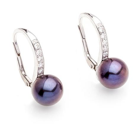 Dámské zlaté náušnice se sladkovodními perlami a zirkony cca 585/2,30g 335040130 (335040130 - POŠTOVNÉ ZDARMA)