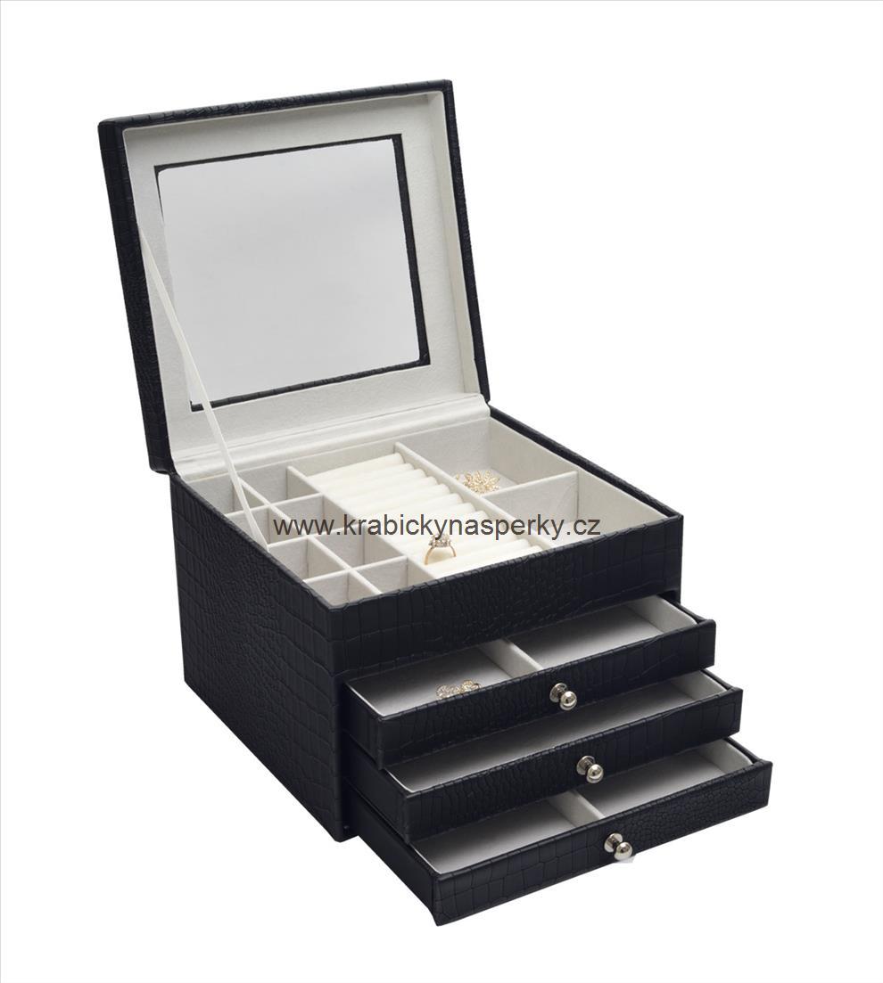 Luxusní velká černá šperkovnice SP-949/A25