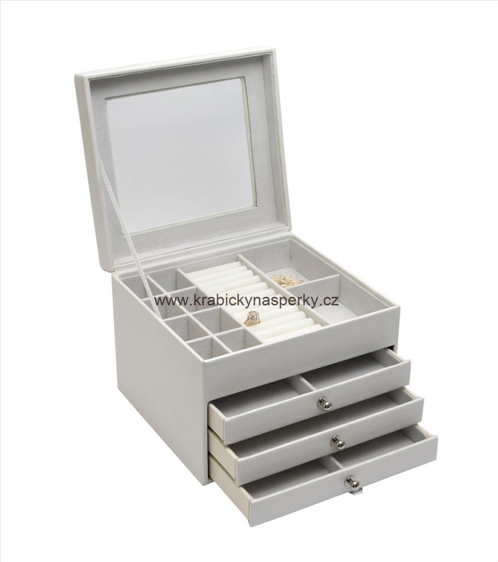 Luxusní velká bílá šperkovnice SP-949/A1