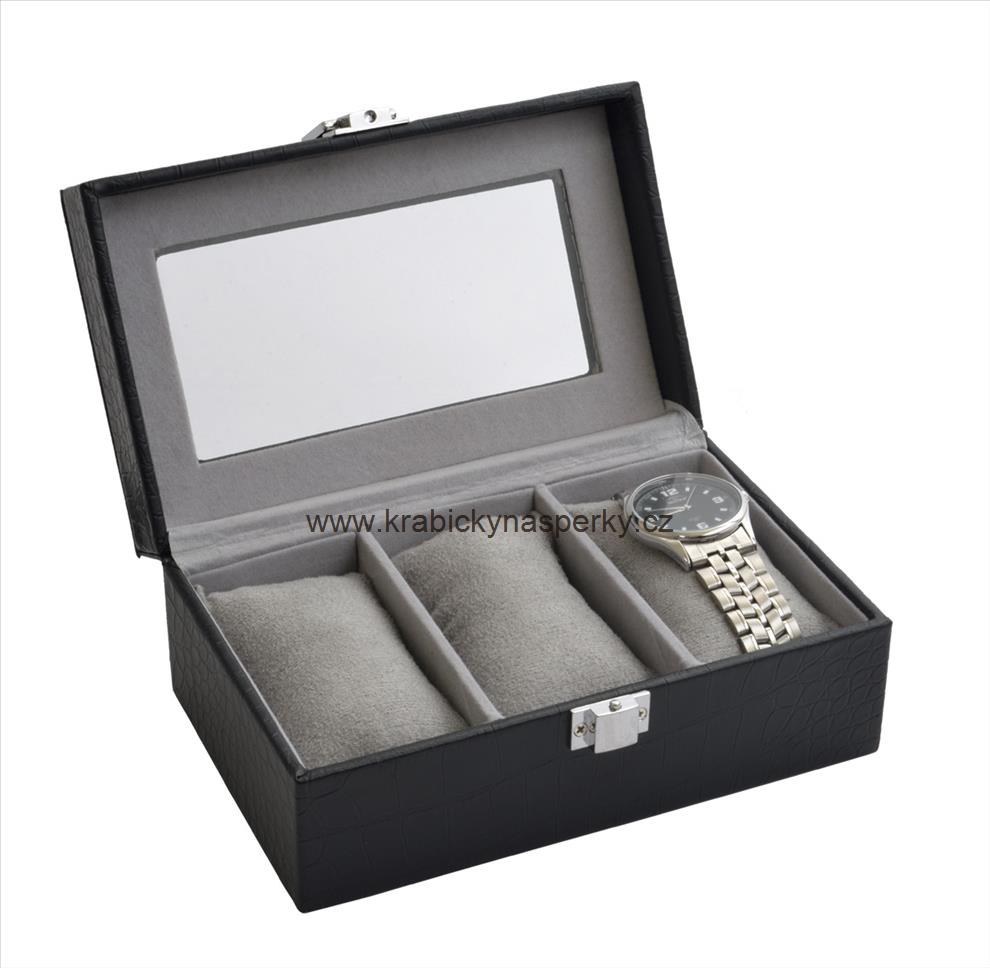 Malá černá šperkovnice pro troje hodinky - SP-935/A25