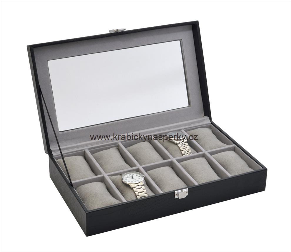 Velká černá šperkovnice pro desatery hodinky - SP-937/A25