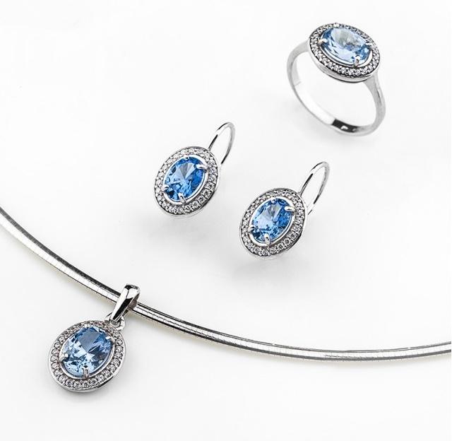 Dámská zlatá souprava s modrými akvamaríny a zirkony cca 585/6,90gr (POŠTOVNÉ ZDARMA)
