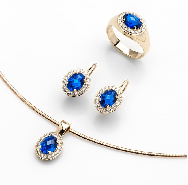 Dámská zlatá souprava s modrými safíry a zirkony cca 585/9,40gr (POŠTOVNÉ ZDARMA)
