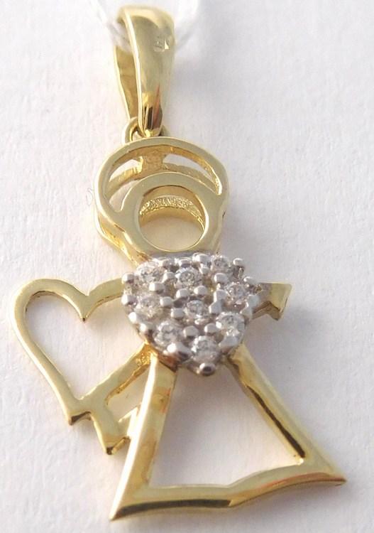 Zlatý přívěsek - zlatý andělíček se zirkony pro štěstí 585/0,89gr H803 (POŠTOVNÉ ZDARMA!! 96/9149/PE)