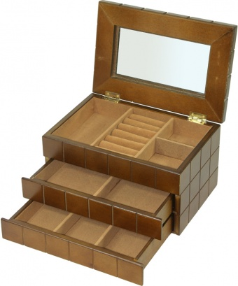 Třípatrová dřevěná šperkovnice - šachovnice 19663/95995