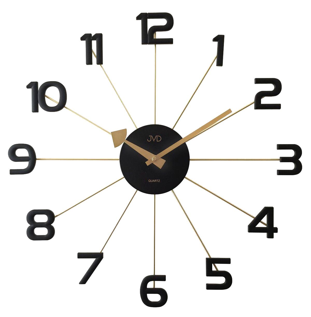 Černožluté paprskovité kovové hodiny JVD HT072.2 s číslicemi (POŠTOVNÉ ZDARMA!!!!)