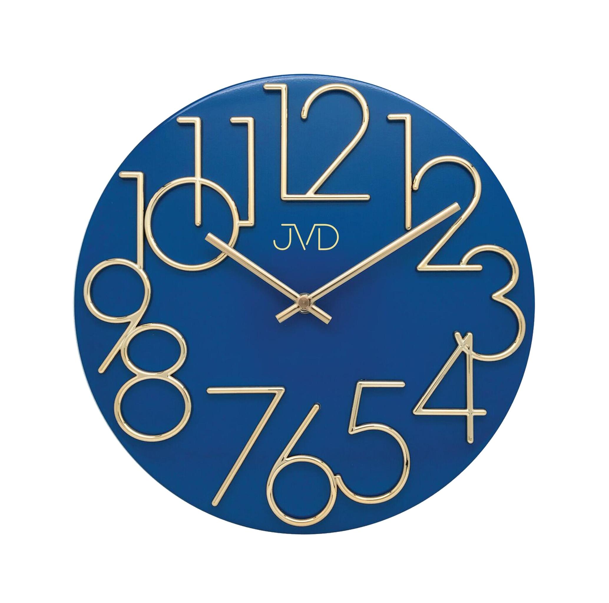 Kovové designové nástěnné modré hodiny JVD HT23.3 (POŠTOVNÉ ZDARMA!!)