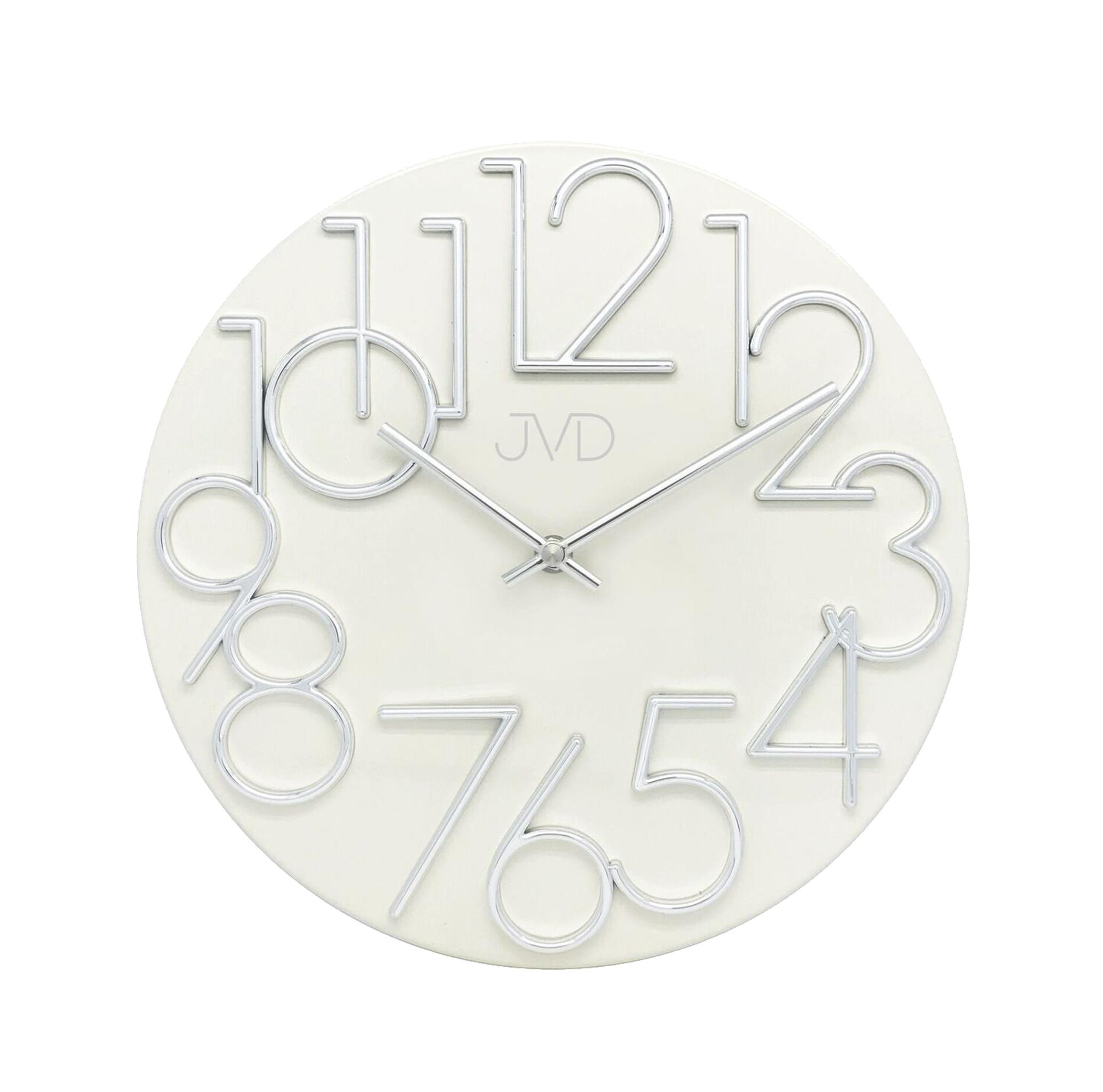 Kovové designové nástěnné bílé hodiny JVD HT23.4 (POŠTOVNÉ ZDARMA!!)