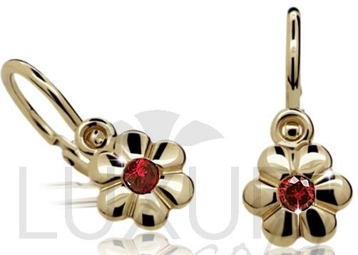 Dětské zlaté náušnice s červenými rubíny 585/0,97gr 4030005