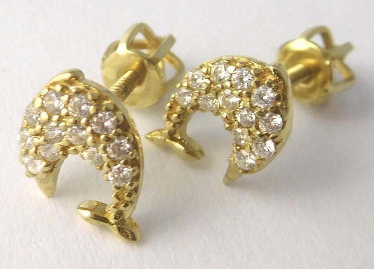Zlaté náušnice se zirkony delfínky pro štěstí na šroubek 585/1,30gr T239 (POŠTOVNÉ ZDARMA)