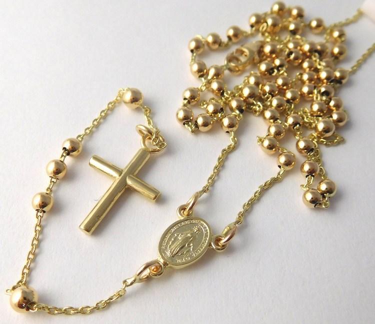Luxusní mohutný zlatý růženec - prodloužený řetízek 50+10cm 585/5,35gr H839 (POŠTOVNÉ ZDARMA - zlatý růženec ze zlata 585/1000)