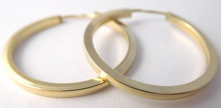 Mohutné velké zlaté kruhy (hranaté) cca 2,4cm 585/1,05gr H840