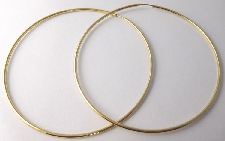 Mohutné obrovské velké zlaté kruhy - průměr 7,5cm / 75mm 585/3,86gr H841 (POŠTOVNÉ ZDARMA - zlaté kruhy průměr 7,5cm)