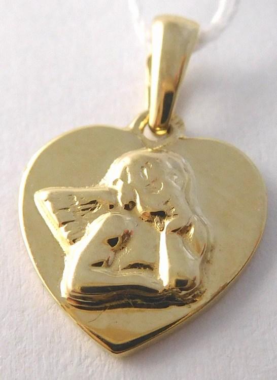 Zlatý andělíček gravírovaný v srdíčku (přívěsek) 585/1,00gr H842 (POŠTOVNÉ ZDARMA)