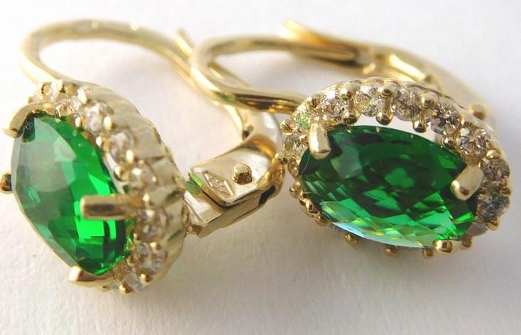 Mohutné dámské zlaté náušnice se zelenými smaragdy (2ks) 585/2,50gr H843