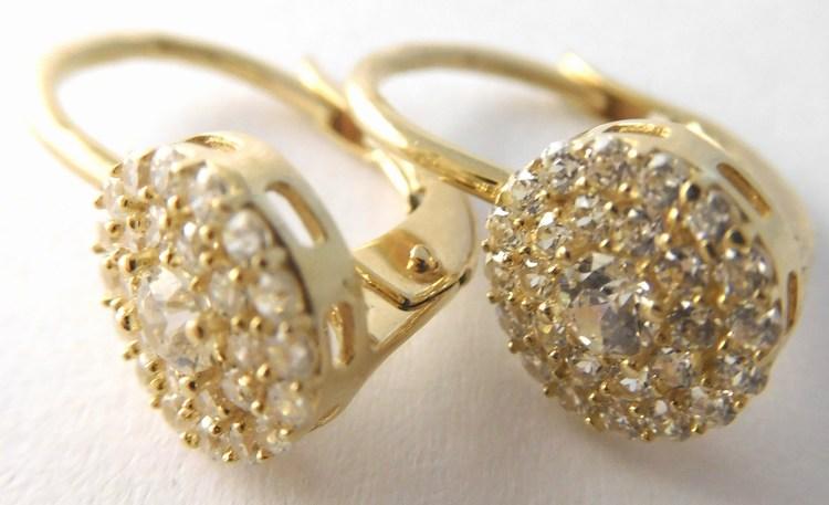Luxusní mohutné dámské zlaté náušnice se zirkony 30ks 585/2,53gr H845 (POŠTOVNÉ ZDARMA )