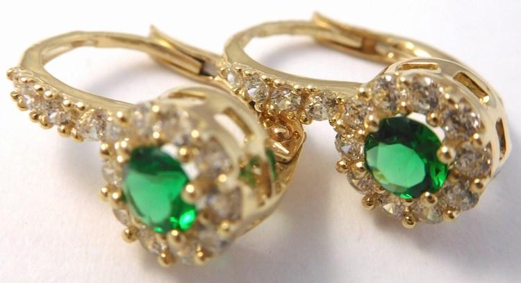 Mohutné zlaté náušnice se zirkony a zelenými smaragdy 585/2,72gr H848 (POŠTOVNÉ ZDARMA)