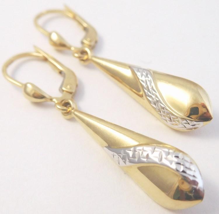 Zlaté visací náušnice z bílého a žlutého zlata s gravírováním 585/2,11gr H851 (POŠTOVNÉ ZDARMA)