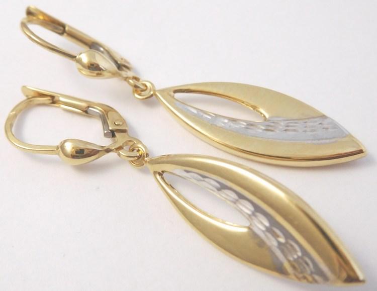 Gravírované zlaté visací náušnice z bílého a žlutého zlata 585/2,38gr H854 (POŠTOVNÉ ZDARMA)