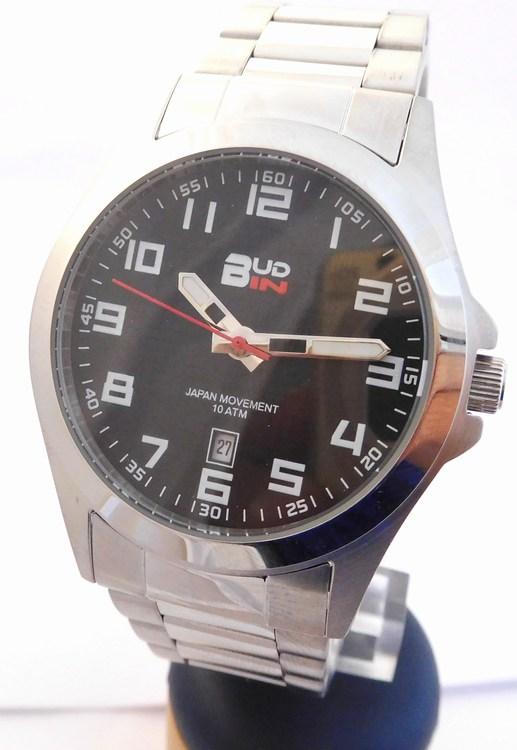 Pánské levné ocelové vodotěsné hodinky BUD-IN steel B1701.2 - 10ATM (POŠTOVNÉ ZDARMA!!! - černý číselník)