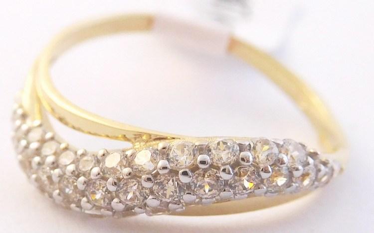 Zlatý zdobený prsten posetý mnoha zirkony 585/1,42gr vel. 52 H857 (POŠTOVNÉ ZDARMA)
